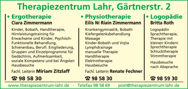 Anzeige Therapiezentrum Lahr