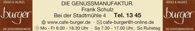Anzeige Cafe Burger