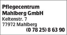 Anzeige Pflegecentrum Mahlberg GmbH