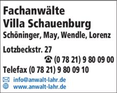 Anzeige Fachanwälte Villa Schauenburg