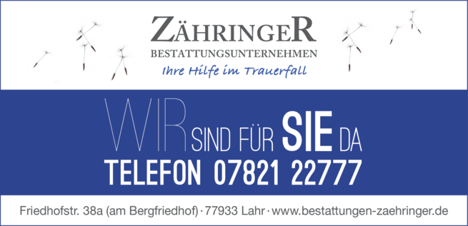 Anzeige Bestattungsunternehmen Zähringer