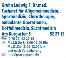 Anzeige Gruhn Ludwig Dr.med.