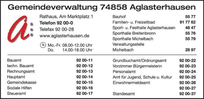 Anzeige Gemeindeverwaltung Aglasterhausen