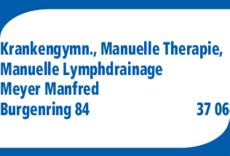 Anzeige Krankengymnastik + Chirotherapie Meyer Manfred