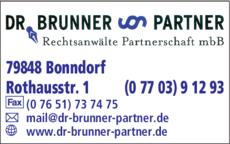 Anzeige Rechtsanwälte Dr. Brunner & Partner