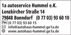 Anzeige 1a autoservice Hummel e.K.