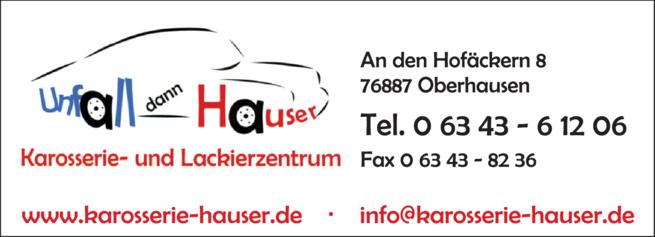 Anzeige Lackierung Hauser Karosseriefachbetrieb
