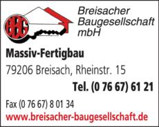 Anzeige Breisacher Baugesellschaft mbH