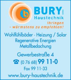 Anzeige Bury Haustechnik GmbH