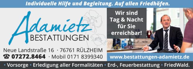 Anzeige Bestatter Adamietz Ralf