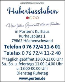 Anzeige Hubertus Stuben in Porten's Kurhaus