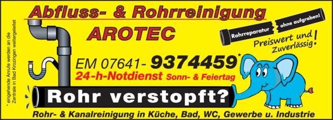 Anzeige Rohrreinigung AROTEC