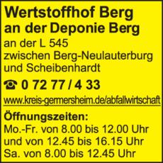 Anzeige Wertstoffhof Berg