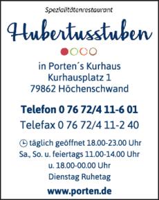 Anzeige Hubertus Stuben in Portens Kurhaus