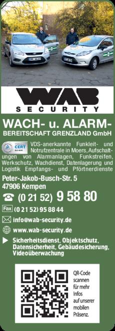 Anzeige Wachdienst Wach- und Alarmbereitschaft Grenzland GmbH