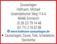 Anzeige Zaunanlagen Hofmann Michael