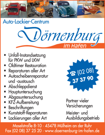 Anzeige Autolackiererei Dörnenburg im Hafen