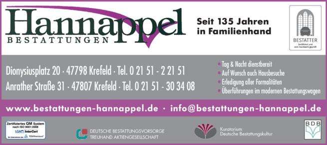 Anzeige Hannappel Bestattungen