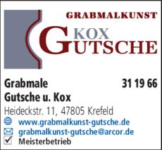 Anzeige Grabmale Gutsche u. Kox
