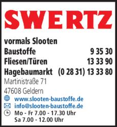 Anzeige Swertz vormals Slooten