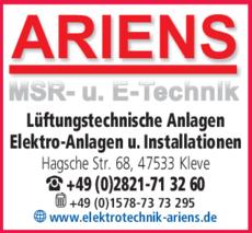 Anzeige Ariens MSR- u. E-Technik