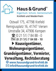 Anzeige Haus & Grund Krefeld e.V.