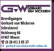 Anzeige Beerdigung, Wickeren Gerhard van