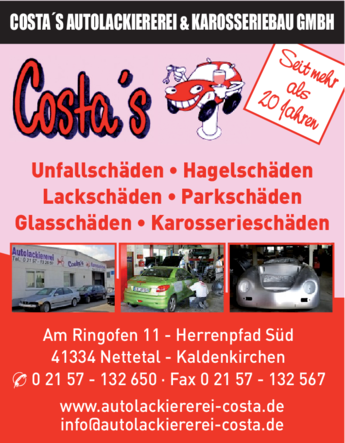 Anzeige Costa's Autolackiererei Karosseriebau GmbH