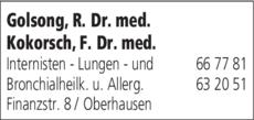Anzeige Golsong, R. Dr. med. u. Kokorsch F. Dr. med.