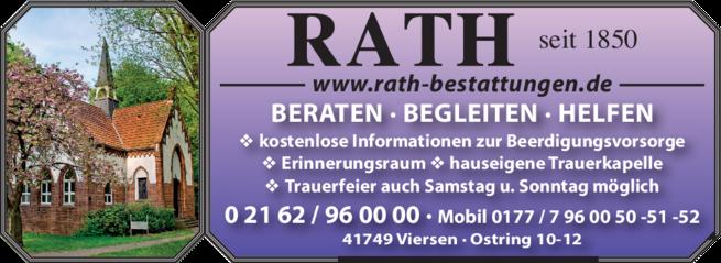 Anzeige Beerdigung Rath