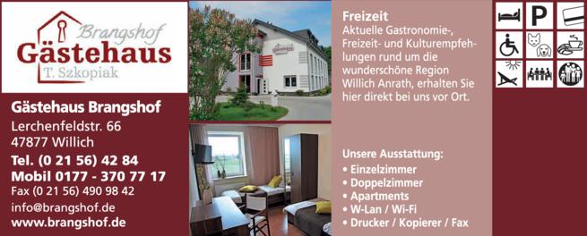 Anzeige Gästehaus Brangshof Inh. T. Szkopiak