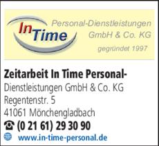 Anzeige Zeitarbeit In Time Personal-Dienstleistungen GmbH & Co. KG