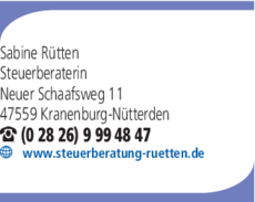 Anzeige Steuerberaterin Rütten Sabine