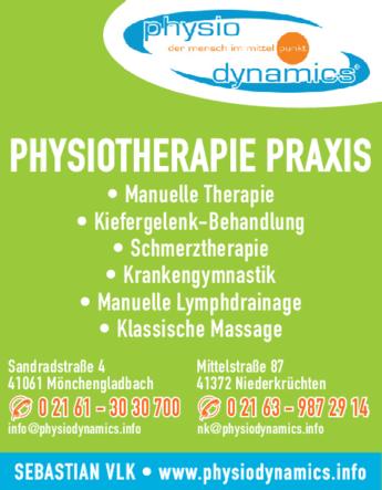 Anzeige Krankengymnastik Physiodynamics Sebastian Vlk