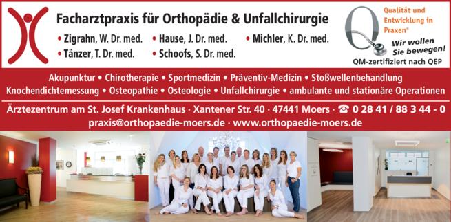 Anzeige Orthopädie Zigrahn W. Dr. med., Hause J. Dr. med., Michler K. Dr. med.