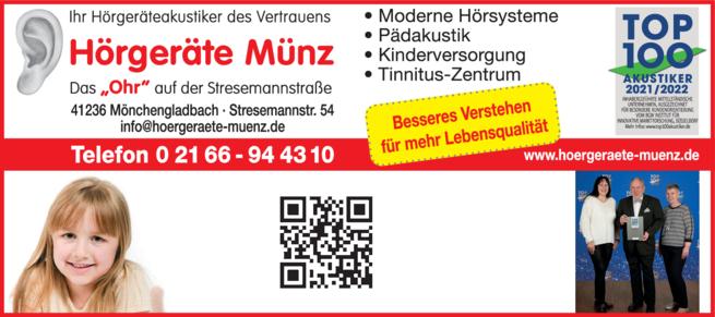 Anzeige Hörgeräte Münz
