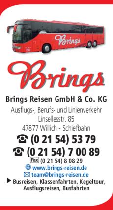 Anzeige Brings Reisen GmbH & Co. KG