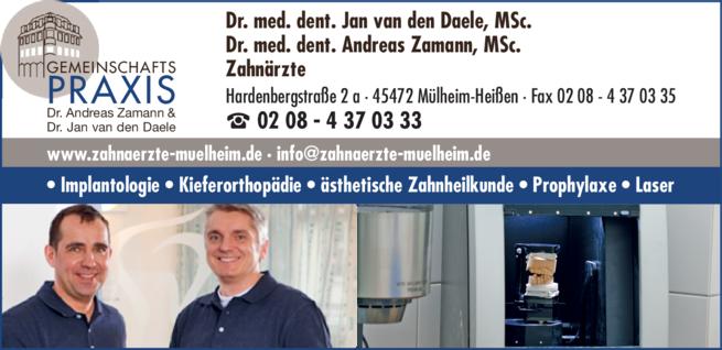 Anzeige Daele van den Dr. med. dent., MSc. u. Zamann Dr. med. dent., MSc.