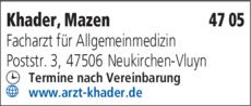 Anzeige Khader Mazen Facharzt für Allgemeinmedizin