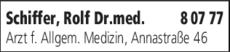 Anzeige Schiffer Rolf Dr.med.