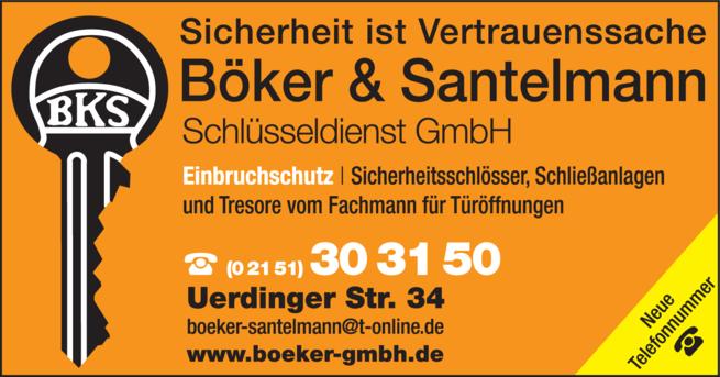 Anzeige Schlüssel Böker & Santelmannn Schlüsseldienst GmbH