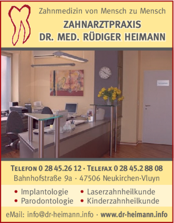 Anzeige Heimann, Rüdiger Dr. med. Zahnarzt