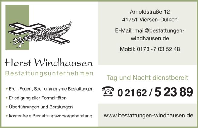 Anzeige Beerdigung Windhausen