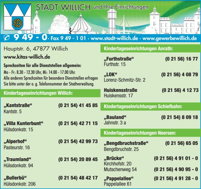 Anzeige Kindergärten der Stadt Willich