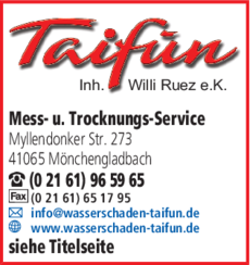 Anzeige Bautrocknung Taifun Inh. Willi Ruez e.K.
