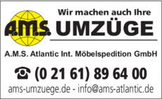 Anzeige Umzüge A.M.S. Atlantic Int. Möbelspedition GmbH