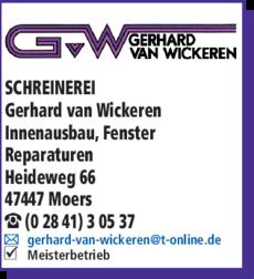 Anzeige Schreinerei, Wickeren Gerhard van