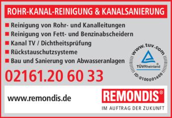 Anzeige Rohr-Kanal-Reinigung & Kanalsanierung Remondis
