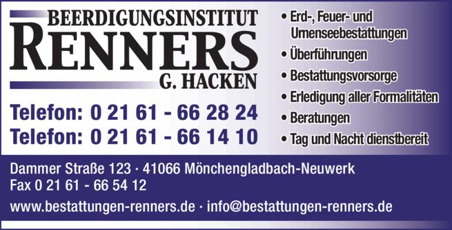 Anzeige Renners G. Hacken