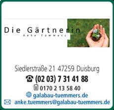 Anzeige A. Tümmers, DIE GÄRTNERIN